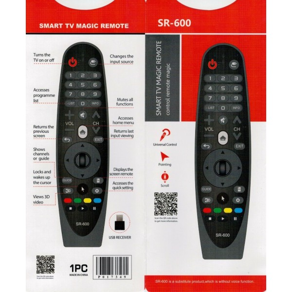 AN-MR600 / AN-MR650 Replacement remote control for LG SMART